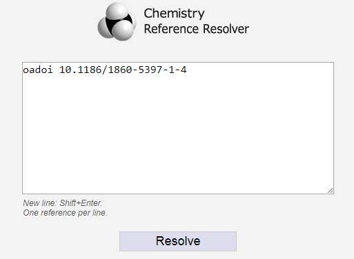 oaDOI at the Chemistry Reference Resolver